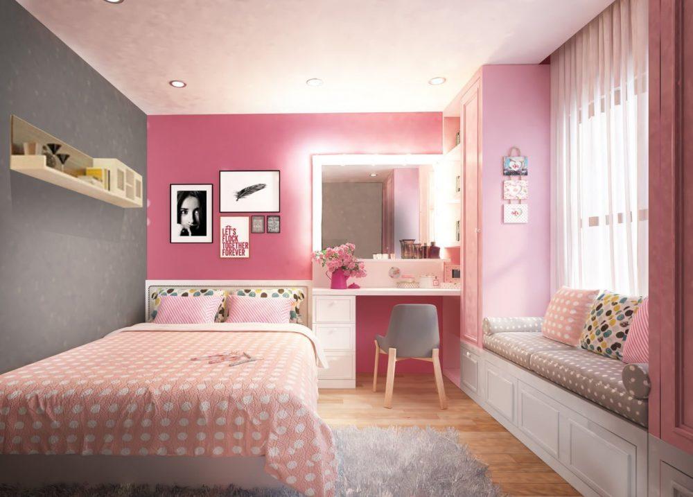 Bố trí phòng ngủ đẹp cho nữ với tone màu hồng