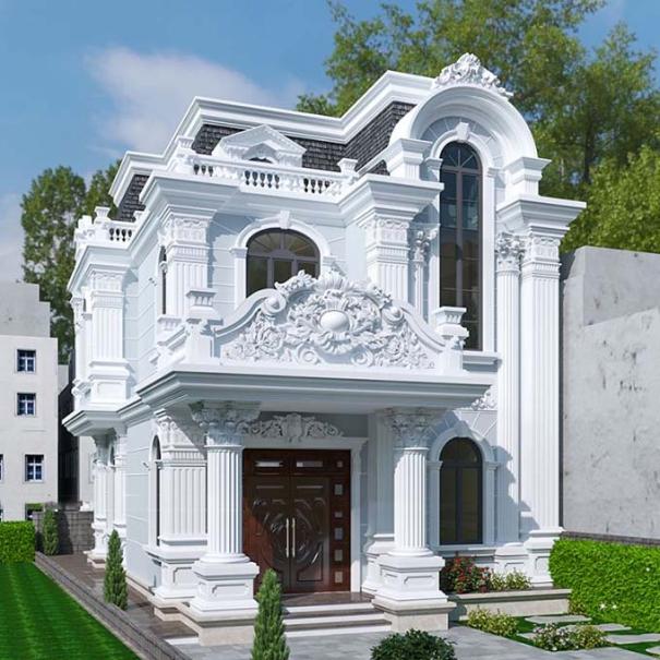 Biệt thự 2 tầng họa tiết độc đáo tân cổ điển
