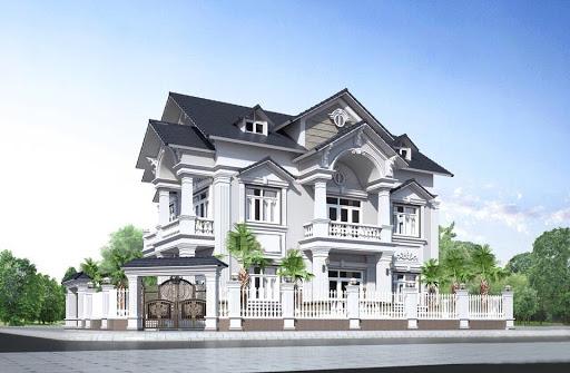 Biệt thự 2 tầng tân cổ điển đẹp với màu trắng