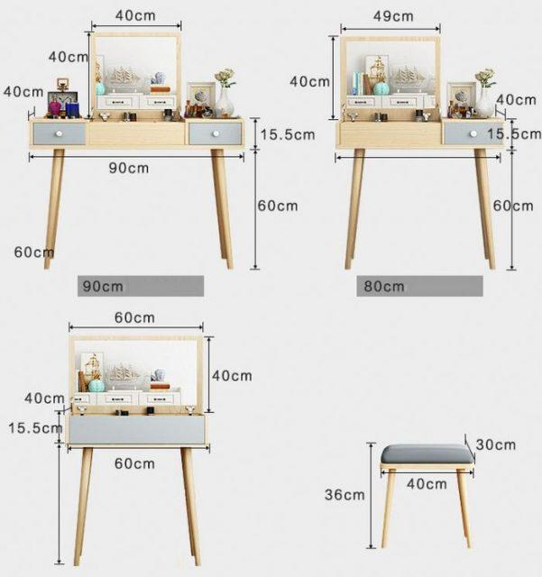 Kích thước bàn trang điểm mini