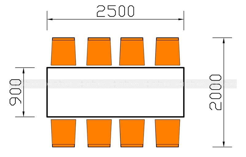 Kích thước bộ bàn ăn dành cho 8 người