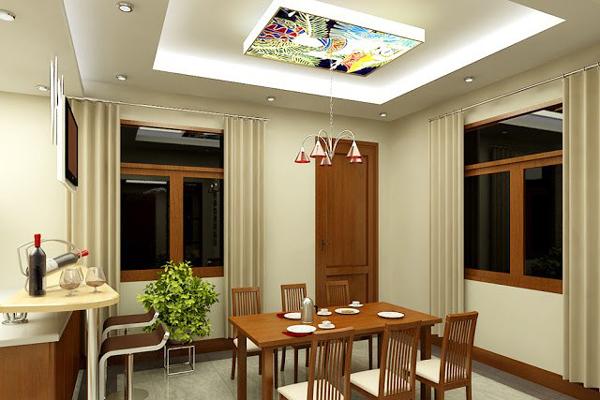 Kiểu trần thạch cao họa tiết sinh động cho căn bếp nhà bạn