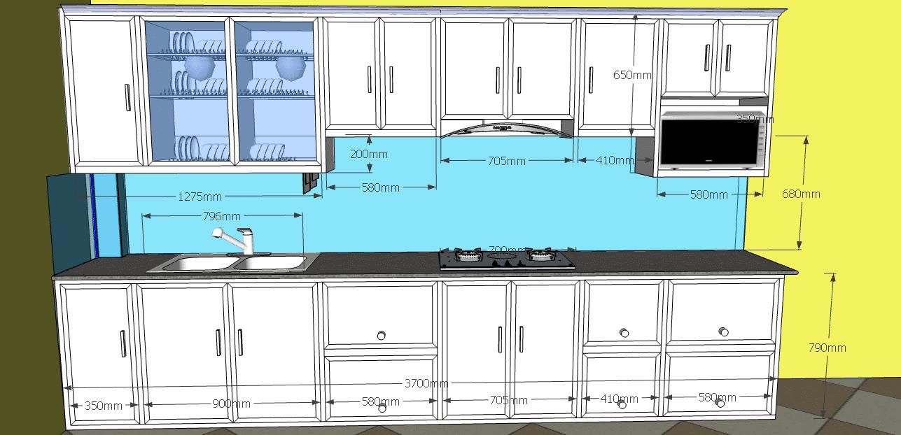 Kích thước tủ bếp nhôm kính