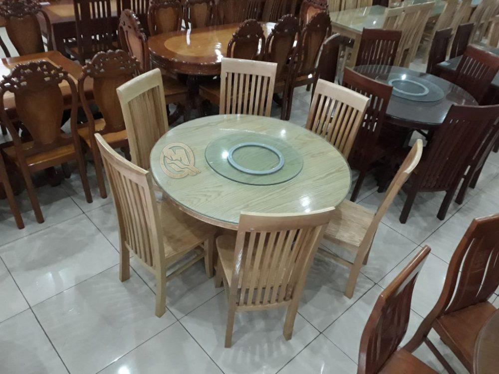 Mẫu bàn ăn tròn bằng gỗ xoay