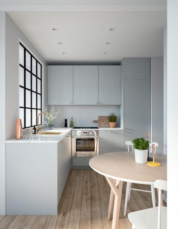 Mẫu bếp được thiết kế với màu sắc trang nhã cùng nội thất đơn giản