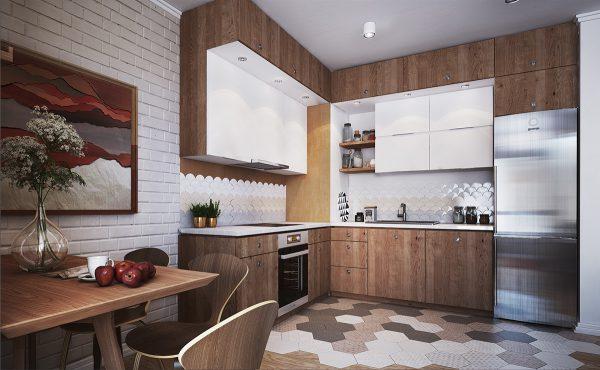 Mẫu bếp với thiết kế hệ tủ cao sát trần thông minh cùng gam màu gỗ óc chó hiện đại