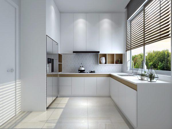 Mẫu nhà bếp đơn giản với thiết kế áp sát tường kết hợp cửa kính sáng và thoáng hơn