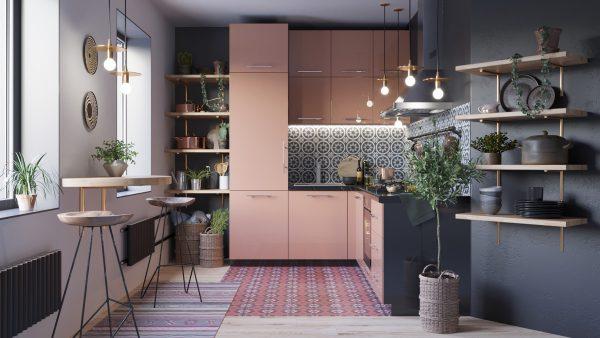 Mẫu nhà bếp đẹp với gam màu trầm