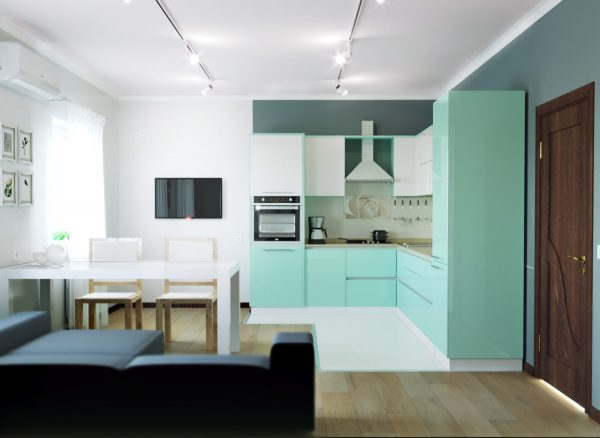 Mẫu nhà bếp nhỏ với tone màu xanh làm chủ đạo