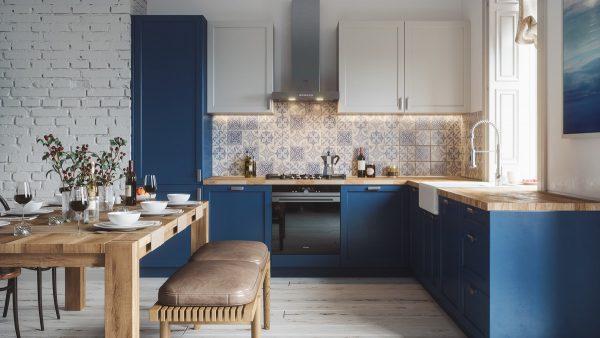 Mẫu nhà bếp với gam màu xanh đậm sẽ giúp nhà bếp trông sạch hơn