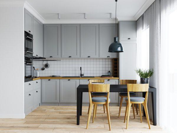 Mẫu nhà bếp với thiết kế gạch ốp tường bếp sọc nhỏ cùng màu xám đậm chủ đạo