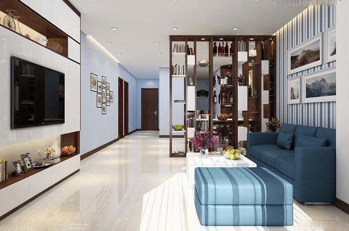 Mẫu phòng khách đẹp dành cho nhà ống hiện đại với vách ngăn bếp bằng tủ rượu