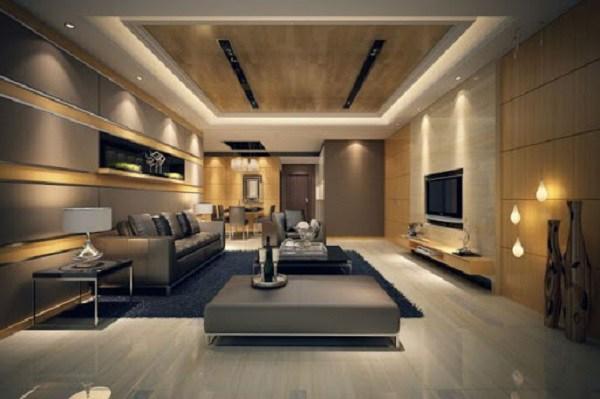 Mẫu phòng khách đẹp hiện đại được thiết kế hệ thống đèn trần trang nhã