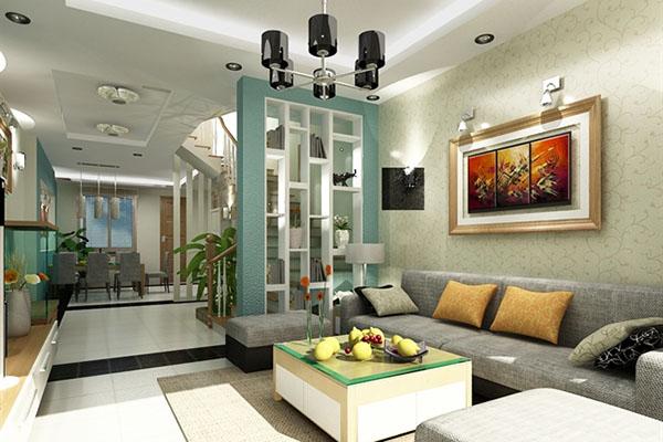 Mẫu phòng khách hiện đại lịch sự với nhiều màu sắc hài hòa