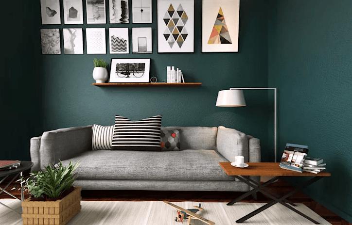 Mẫu phòng khách hiện đại với tone màu tối