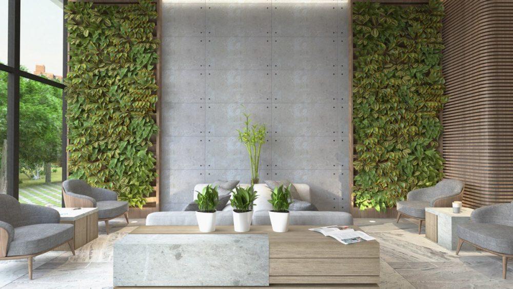 Mẫu phòng khách không gian xanh thiên nhiên