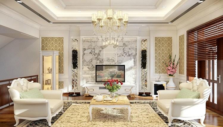 Mẫu phòng khách phong cách châu Âu cổ điển