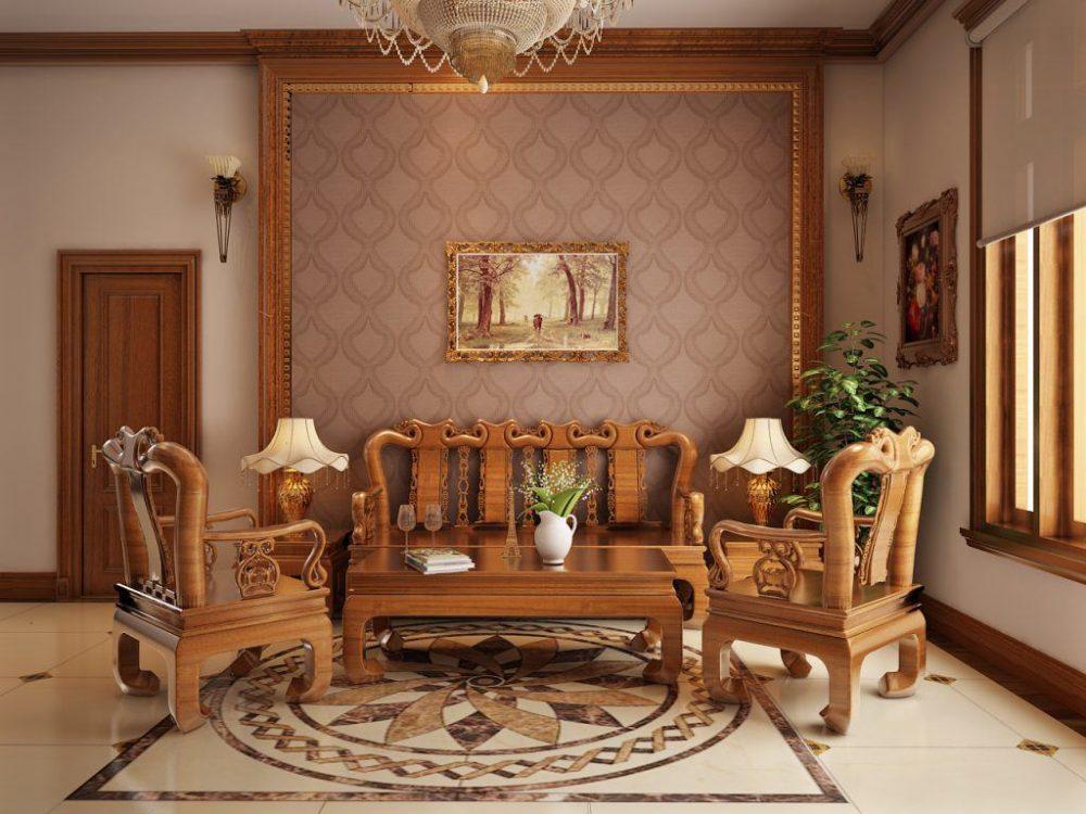 Mẫu phòng khách với gỗ sang trọng