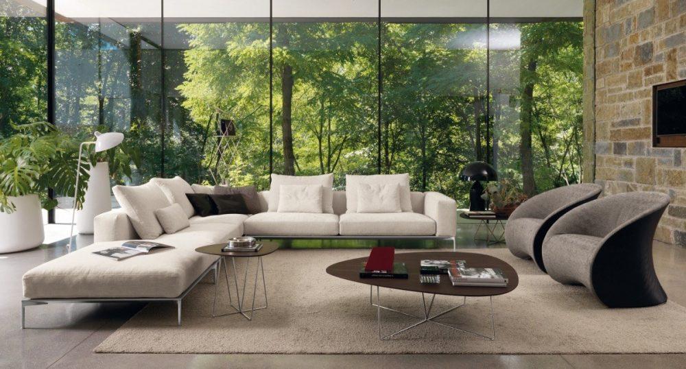 Mẫu phòng khách với màu xanh thiên nhiên nhẹ nhàng