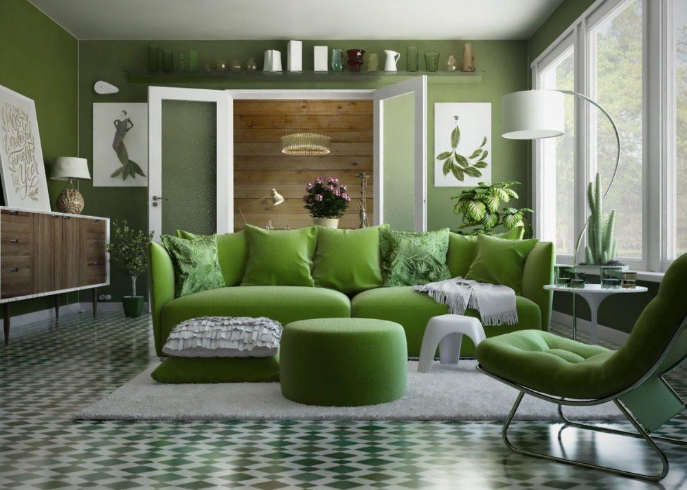 Mẫu phòng khách với tone màu xanh
