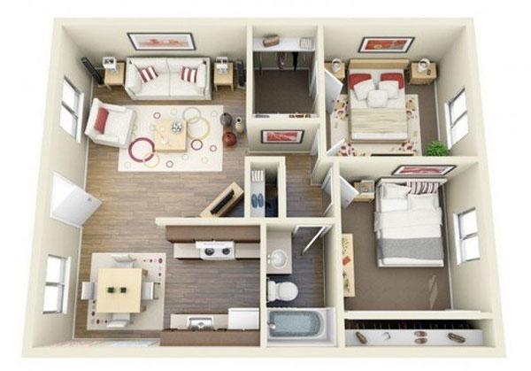 Mẫu thiết kế 2 phòng ngủ nhỏ chừa không gian cho phòng khách