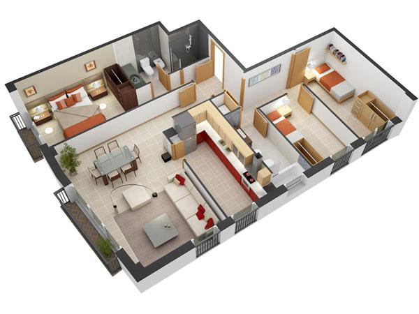 Mẫu thiết kế 3 phòng ngủ theo phong cách Scandinavian