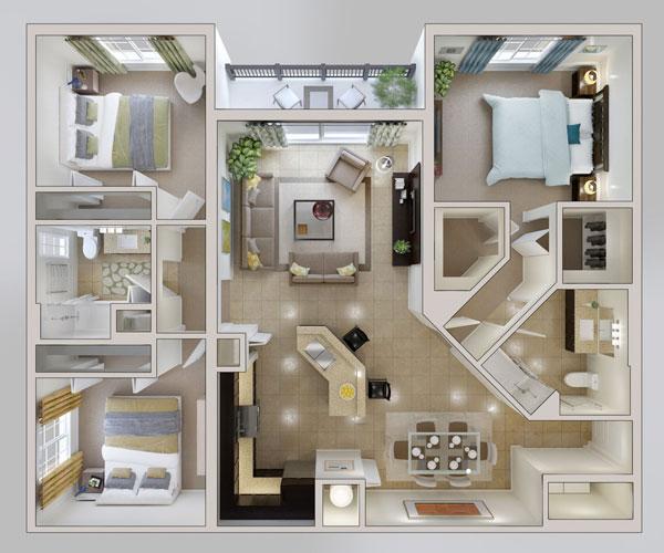Mẫu thiết kế chung cư 3 phòng ngủ với tone màu Beige