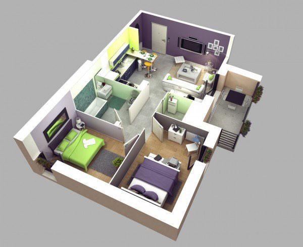 Thiết kế nội thất chung cư 2 phòng ngủ lãng mạn dành cho vợ chồng mới cưới