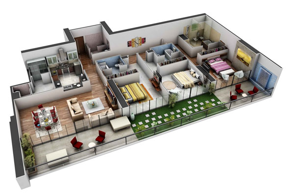 Mẫu thiết kế nhà chung cư 3 phòng ngủ cao cấp