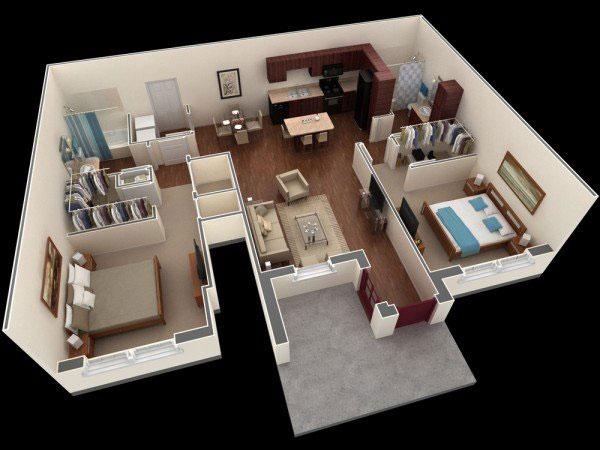 Mẫu thiết kế với 2 phòng ngủ lớn và thay đồ riêng