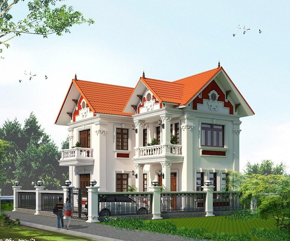 Mái thái mẫu nhà 2 tầng đẹp ở nông thôn