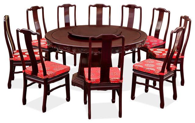 Mẫu bàn ăn tròn bằng gỗ cho nhiều người ăn cùng lúc