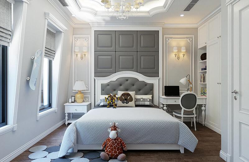 Nội thất phòng ngủ được thiết kế theo phong cách tân cổ điển