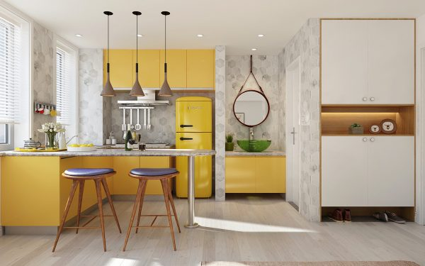 Nhà bếp có tone màu sắc chanh vàng tươi sáng và mới lạ cũng 1 trong những mẫu nhà bếp nhỏ đẹp