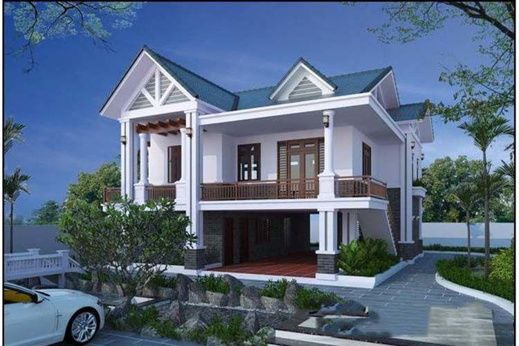 Nhà 2 tầng mái thái nông thôn theo kiểu nhà vườn