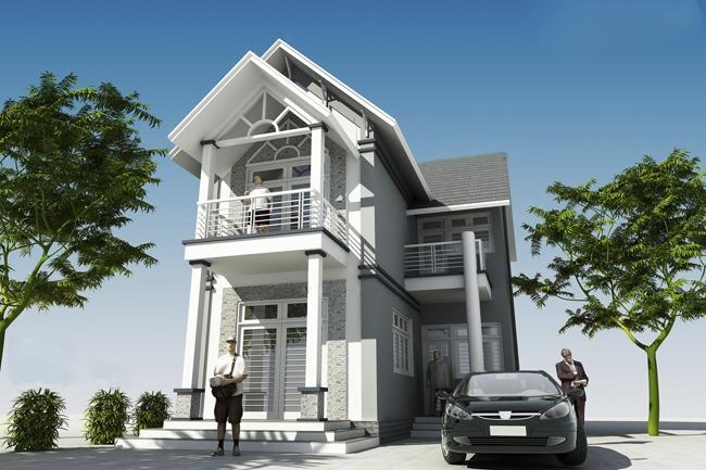 Nhà mái thái 2 tầng chữ l
