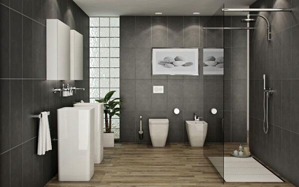 Mẫu nhà vệ sinh cổ điển với thiết bị vệ sinh hiện đại