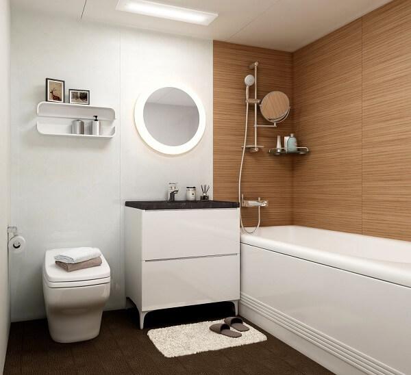 Nhà vệ sinh đẹp với tường gỗ