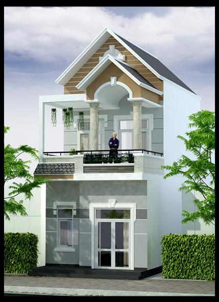 Nhà vuông 2 tầng mái thái