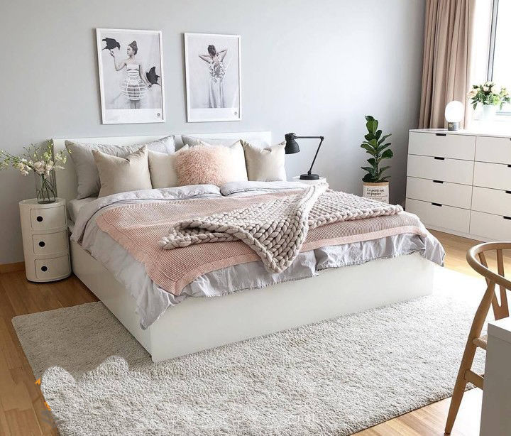 Phòng ngủ cho nữ được trang trí theo kiểu Hàn Quốc