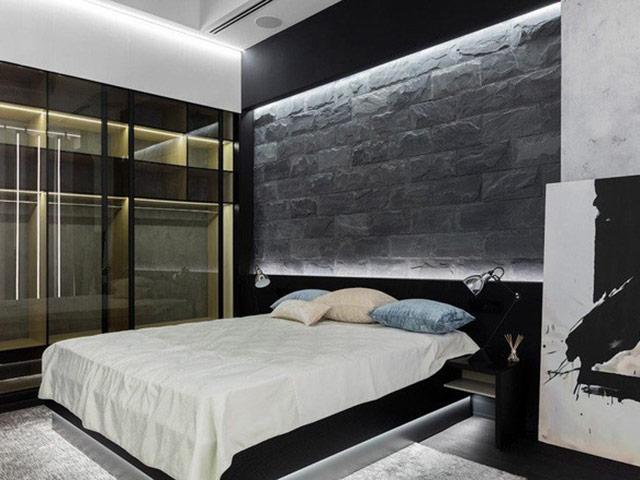 Phòng ngủ nam đươc trang trí với gam màu đen – trắng
