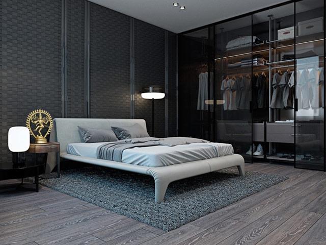 Phòng ngủ nam được trang trí màu trung tính mạnh mẽ
