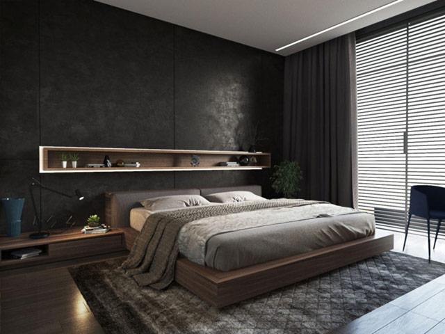 Phòng ngủ nam với tone màu trầm chủ đạo