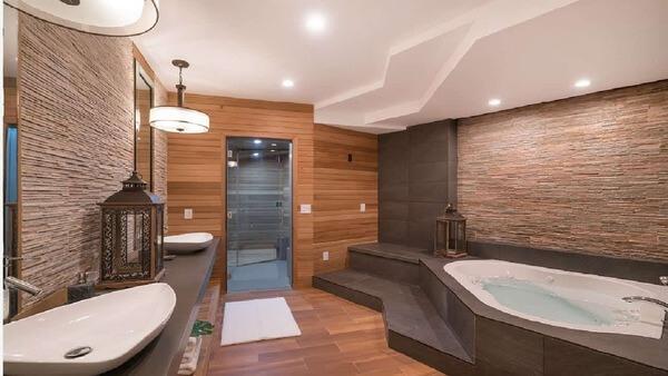 Phòng vệ sinh sang trọng với gỗ