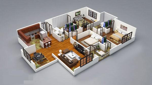 Thiết kế 3 phòng ngủ có cửa sổ đón nắng tự nhiên