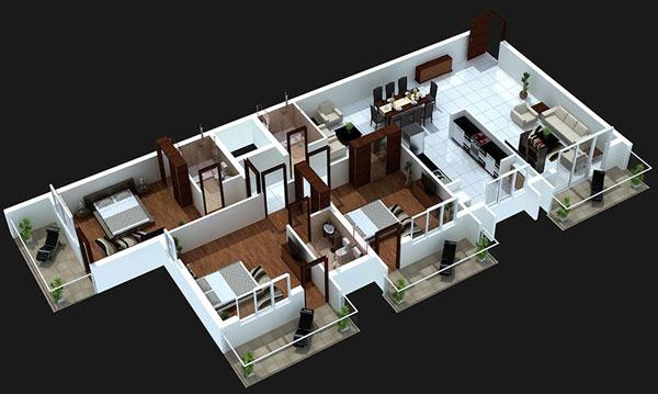 Thiết kế 3 phòng ngủ cho căn hộ có tone màu đối lập
