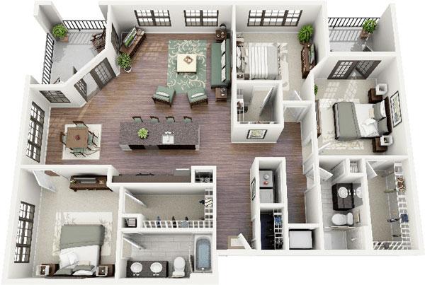 Thiết kế 3 phòng ngủ với nội thất sang trọng