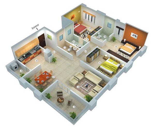 Thiết kế căn hộ 3 phòng ngủ tiết kiệm cho không gian phòng khách rộng rãi