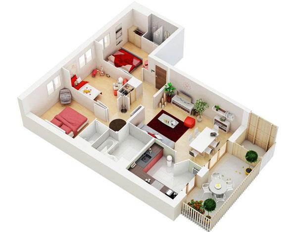 Thiết kế căn hộ có 3 phòng ngủ hiện đại với màu gỗ sáng