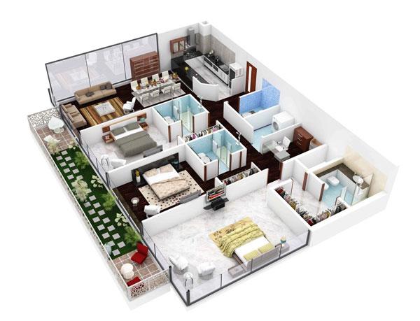 Thiết kế chung cư 3 phòng ngủ đẹp cung màu sắc trang nhã
